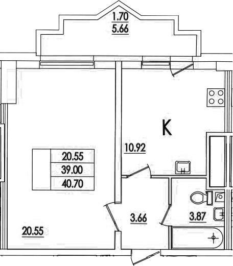 1-комнатная, 40.7 м²– 2