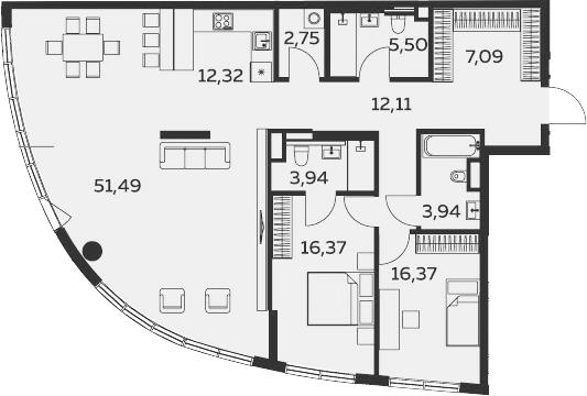 3Е-комнатная, 132.1 м²– 2