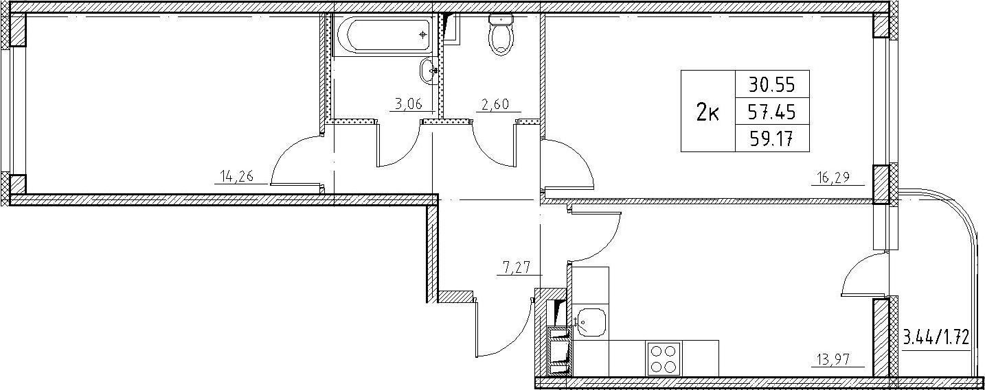 2-к.кв, 60.89 м²