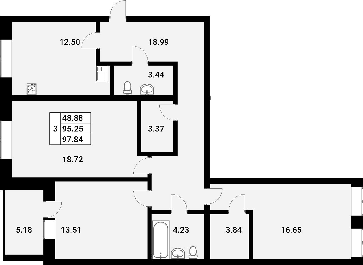 3-к.кв, 97.84 м², 4 этаж