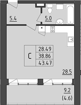 Студия, 48.06 м²– 2