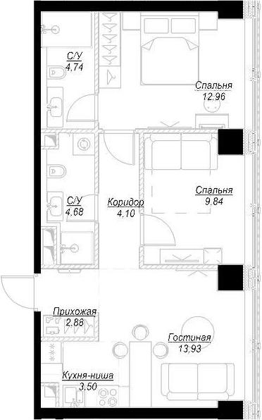 3Е-комнатная, 56.63 м²– 2