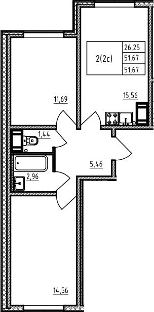 3Е-комнатная, 51.67 м²– 2