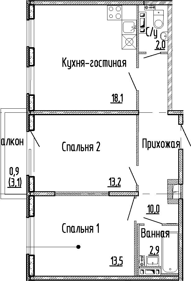 3Е-комнатная, 59.7 м²– 2