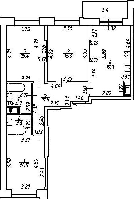 4Е-комнатная, 84.4 м²– 2