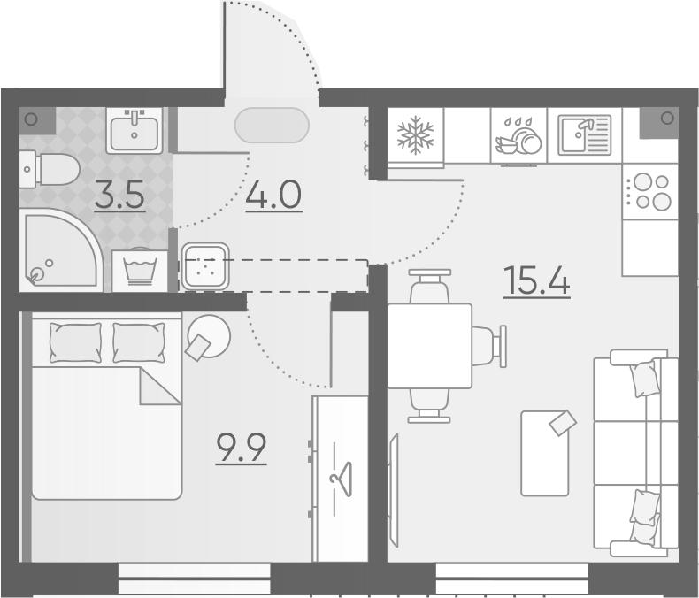 2-к.кв (евро), 32.8 м²