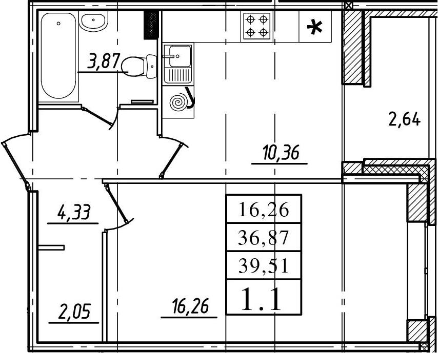 1-к.кв, 36.87 м²