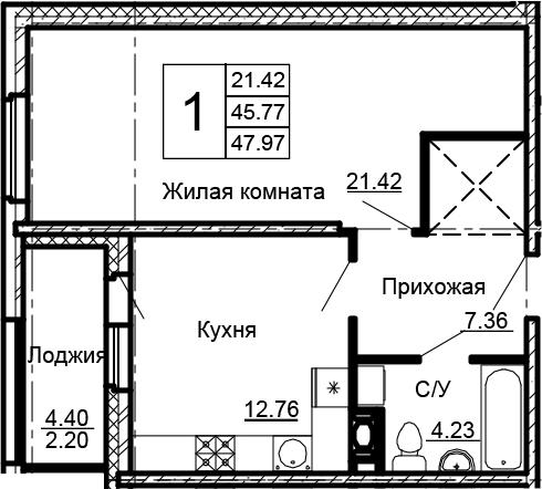 1-к.кв, 47.97 м²