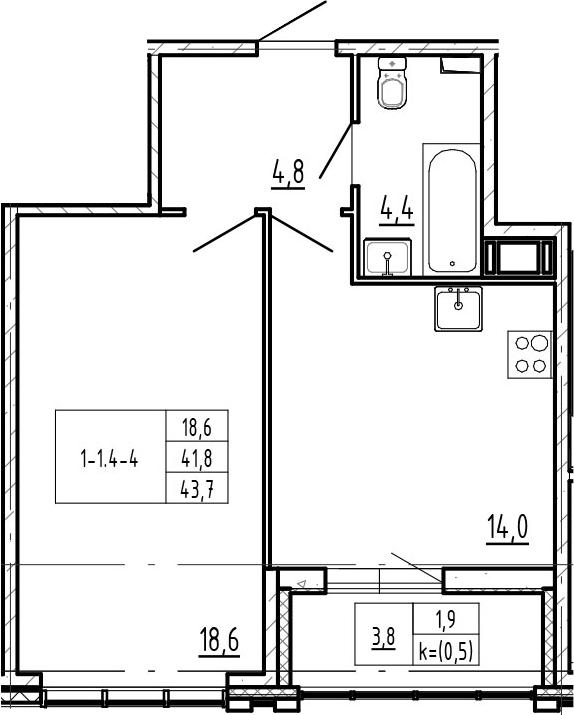 1-комнатная, 43.7 м²– 2