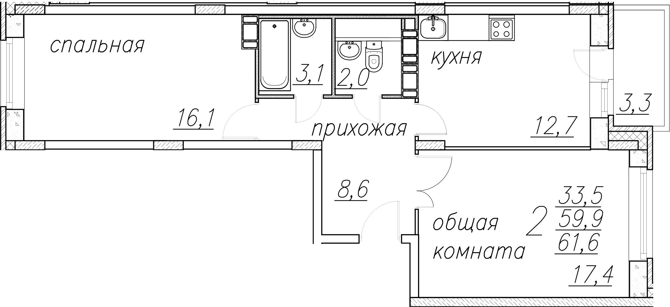 2-к.кв, 63.3 м²