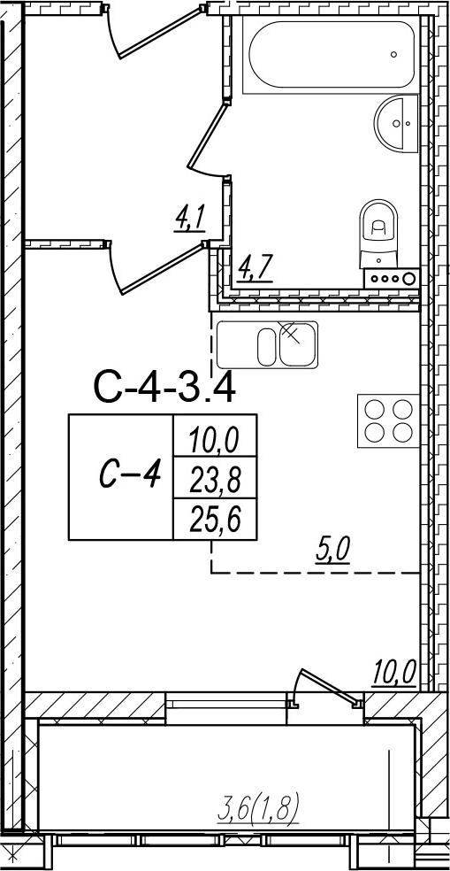 Студия, 27.4 м²