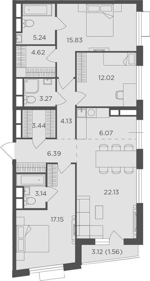 4Е-комнатная, 104.99 м²– 2
