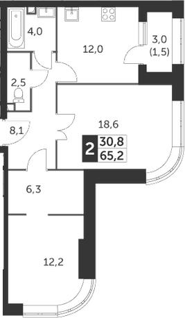 2-комнатная, 65.2 м²– 2