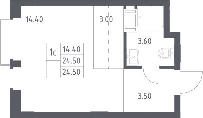 Студия, 24.5 м², 16 этаж