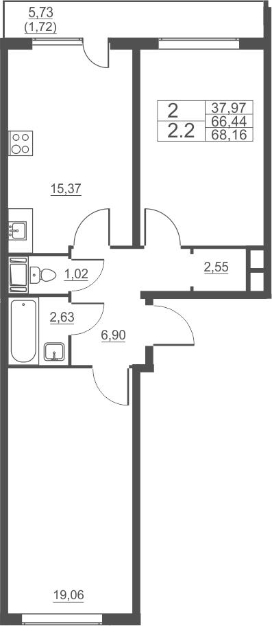 2-к.кв, 68.16 м²