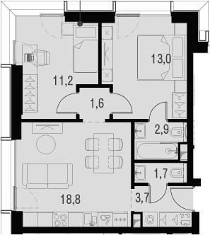 3Е-к.кв, 52.9 м², 6 этаж