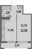 1-к.кв, 36.07 м²