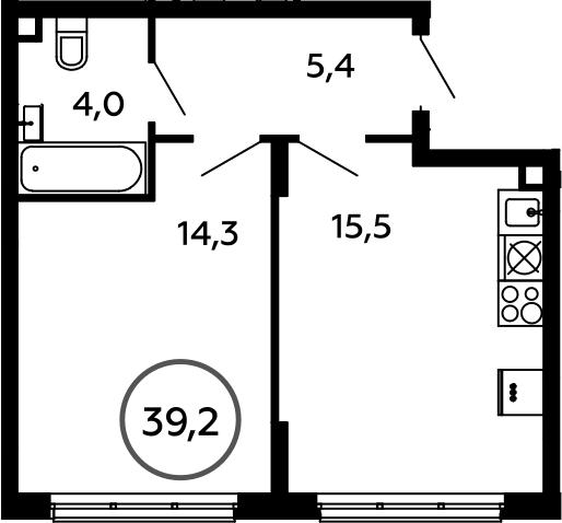 2Е-к.кв, 39.2 м²