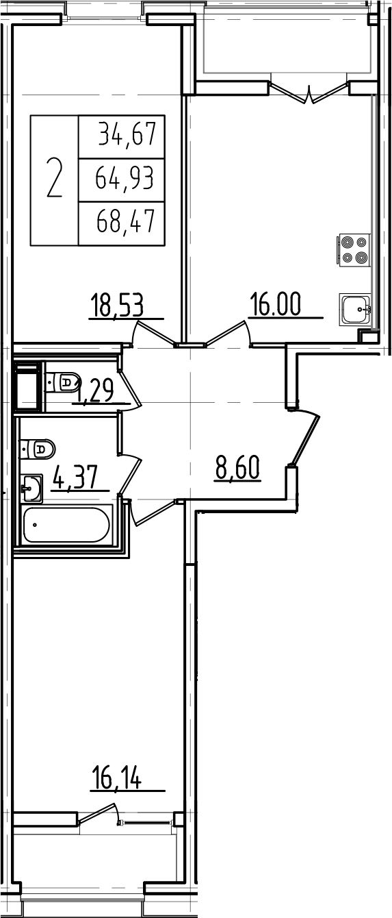 3Е-комнатная квартира, 68.47 м², 3 этаж – Планировка