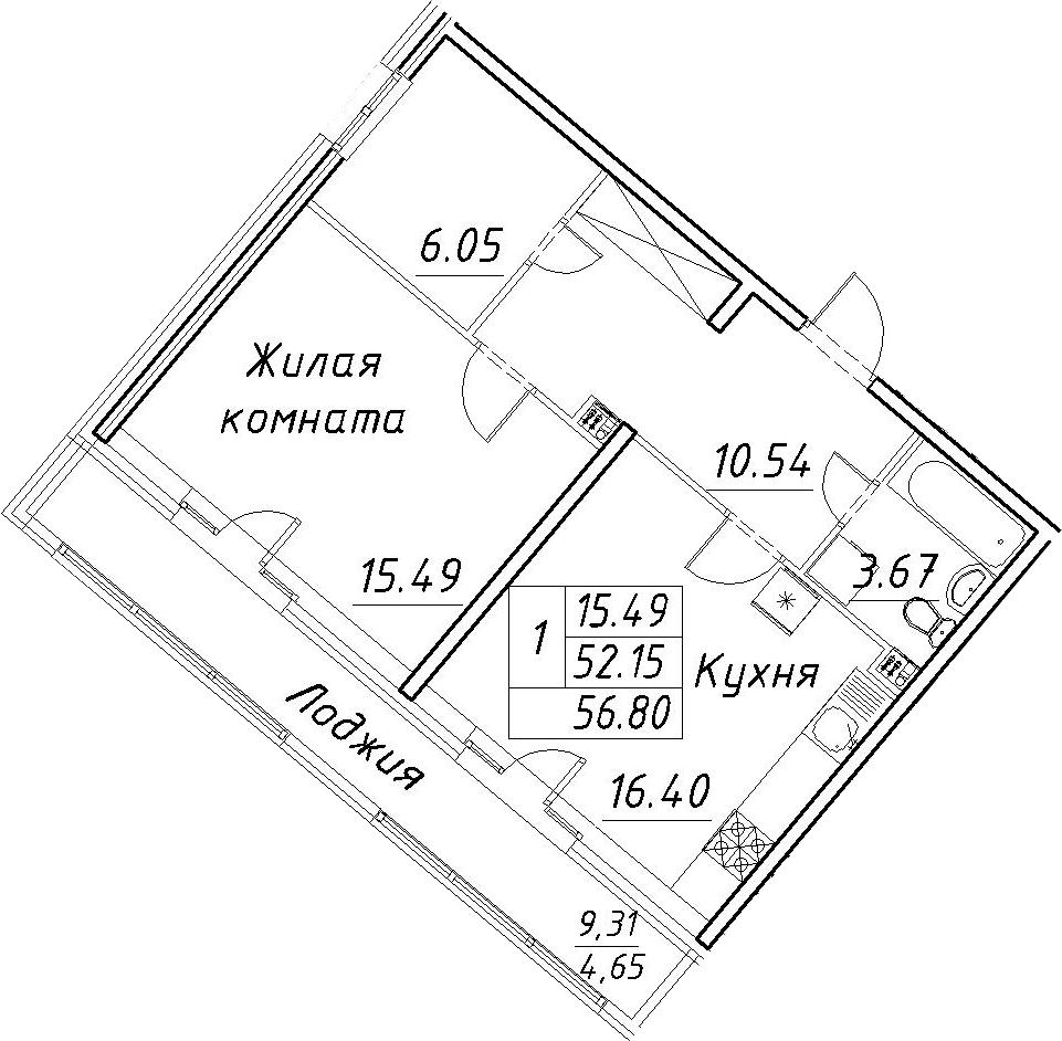 2-к.кв (евро), 61.45 м²