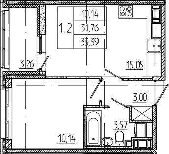 2Е-комнатная квартира, 31.76 м², 2 этаж – Планировка