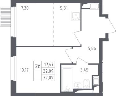 2Е-к.кв, 32.09 м², от 2 этажа