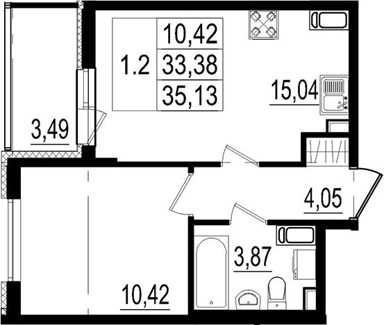 2Е-к.кв, 33.38 м²