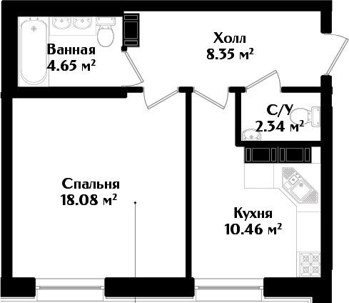 1-к.кв, 43.88 м²