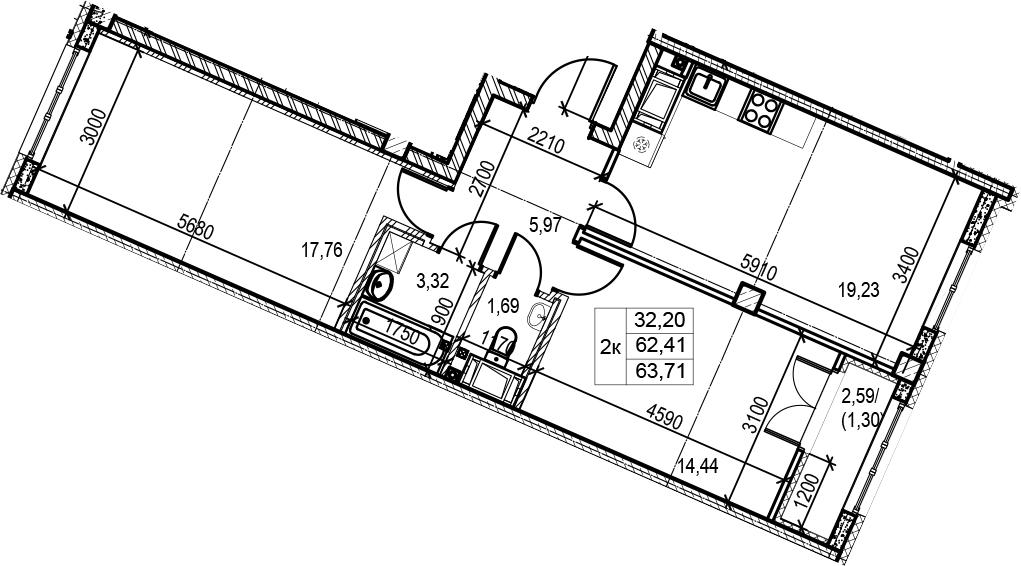 3Е-комнатная, 63.71 м²– 2