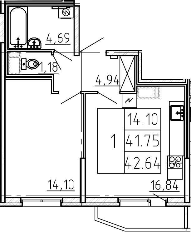 2-к.кв (евро), 44.72 м²