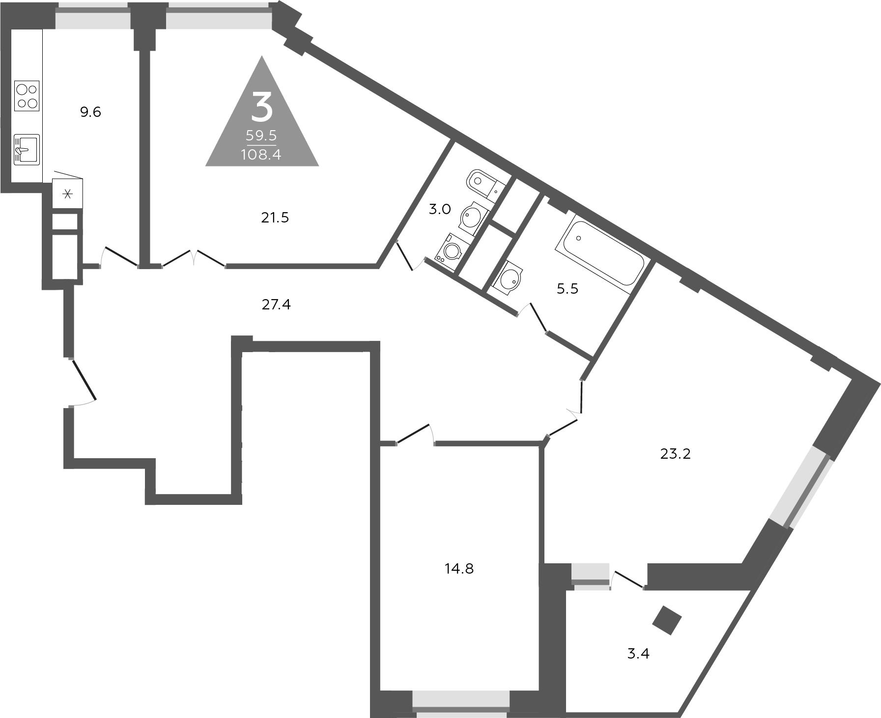 3-к.кв, 110.1 м²