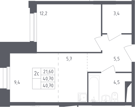 2Е-комнатная, 40.7 м²– 2