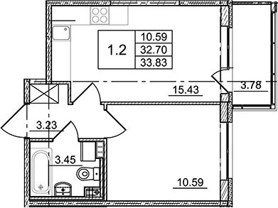 2Е-комнатная, 33.83 м²– 2