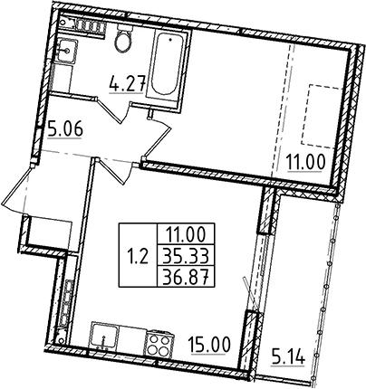 2Е-комнатная, 35.33 м²– 2