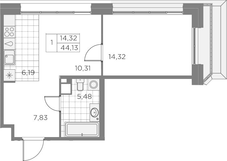 2Е-к.кв, 44.13 м², 9 этаж