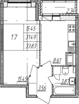 1-комнатная квартира, 31.49 м², 2 этаж – Планировка