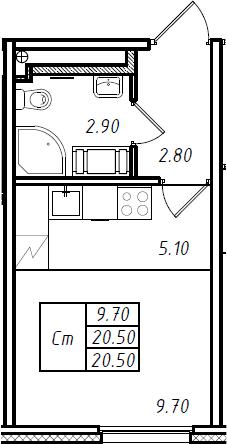 Студия, 20.5 м², 3 этаж