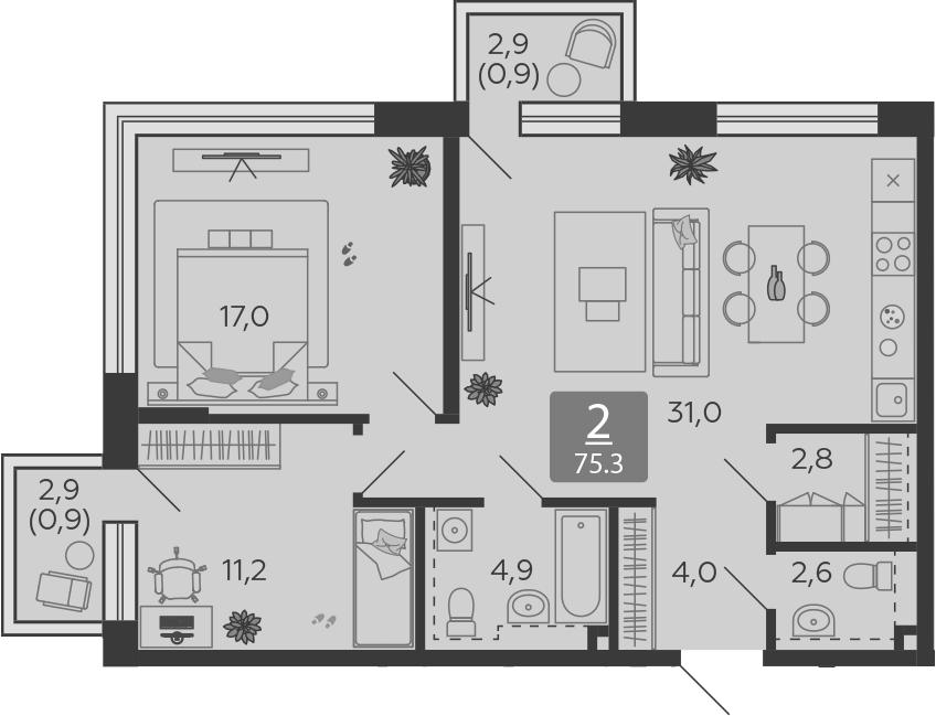 3Е-комнатная, 75.3 м²– 2