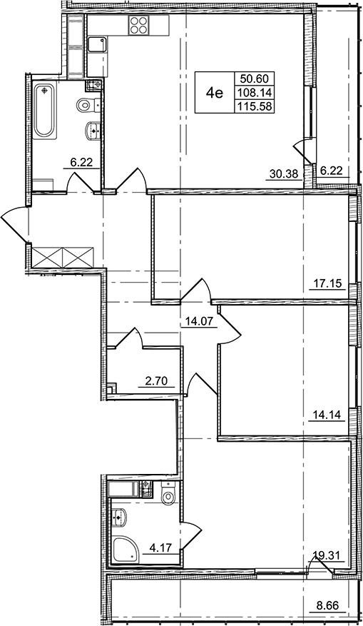 4Е-комнатная, 108.14 м²– 2
