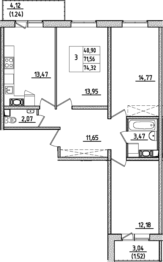 3-к.кв, 78.73 м²