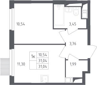 1-комнатная, 31.04 м²– 2