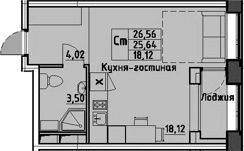 Студия, 26.56 м², 10 этаж – Планировка
