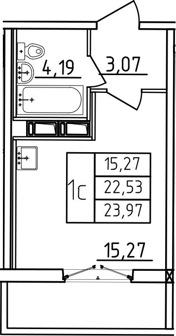 Студия, 23.97 м²– 2