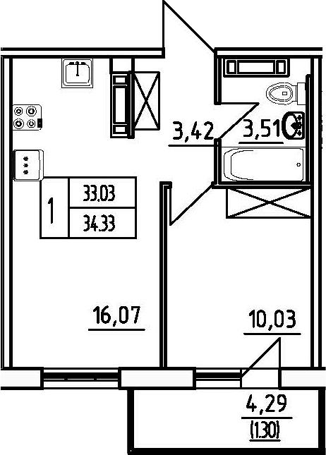 1-комнатная, 34.33 м²– 2