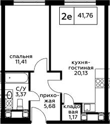 2Е-к.кв, 41.76 м², 24 этаж
