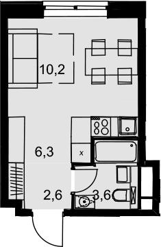 Студия, 22.7 м²– 2
