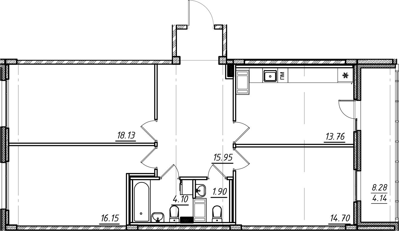 3-комнатная квартира, 88.83 м², 3 этаж – Планировка