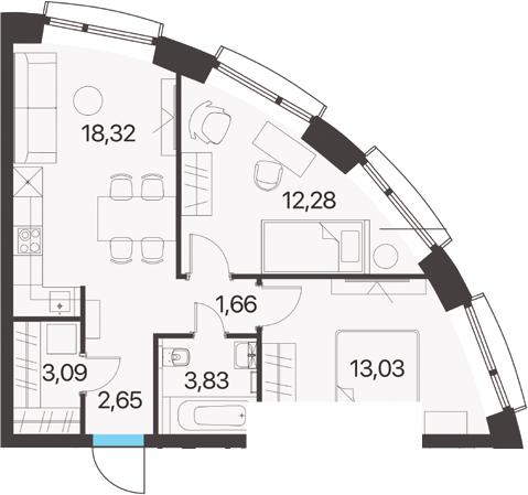 2-комнатная, 54.86 м²– 2