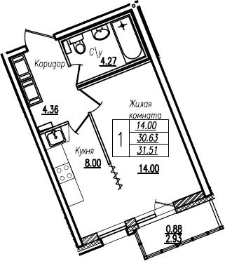 Студия, 31.51 м²– 2