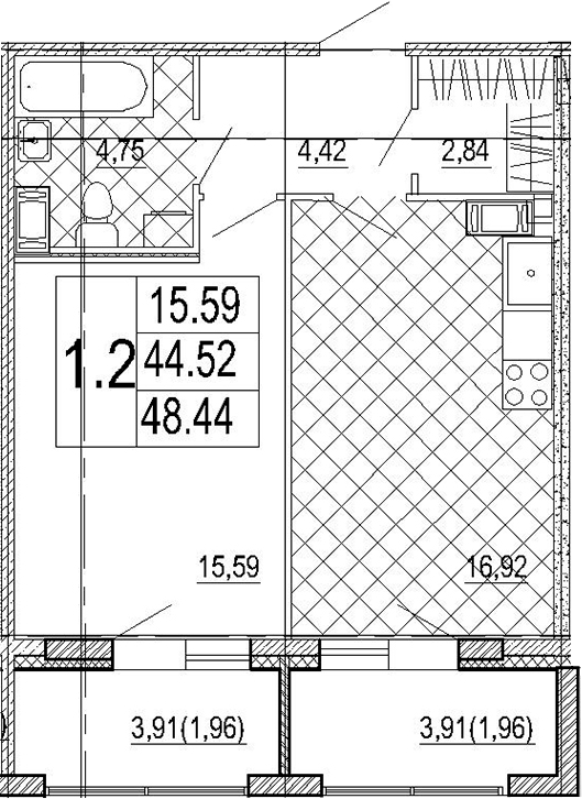 2Е-комнатная, 48.44 м²– 2